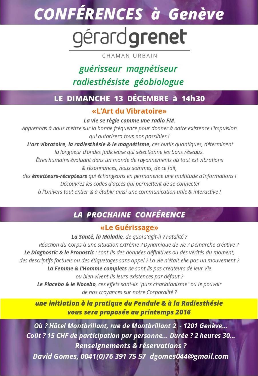 Conférence à Génève de Gérard Grenet : l'Art du Vibratoire